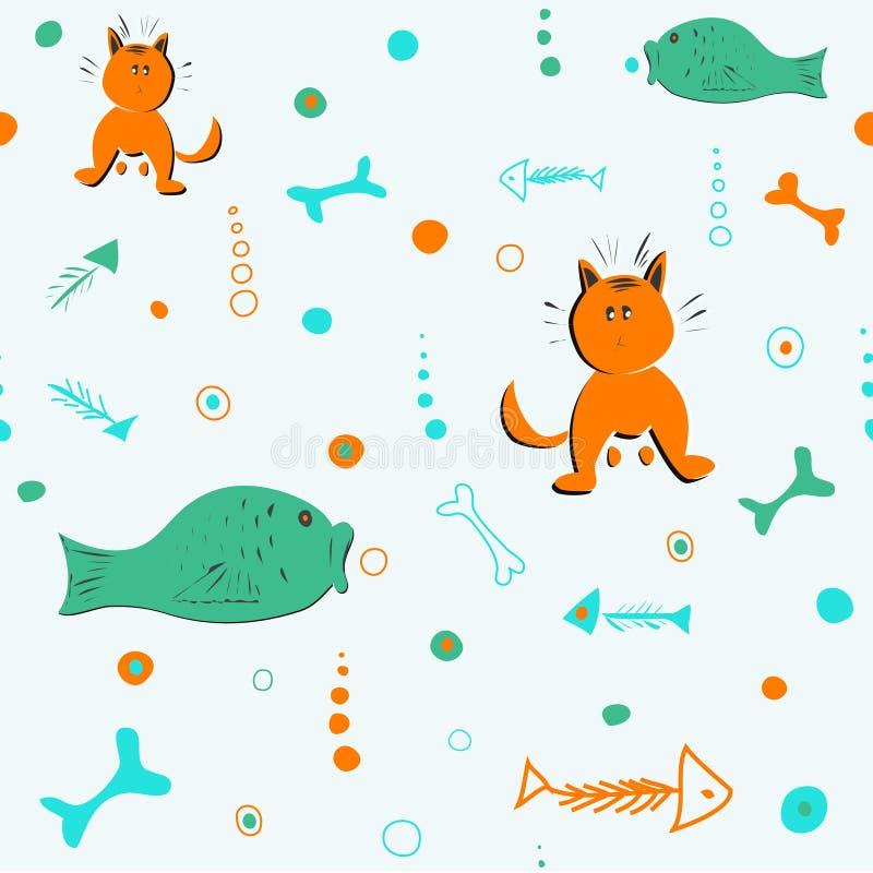 与猫、鱼和骨头的无缝的样式 库存例证