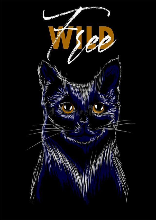 与猫印刷品的狂放和自由口号 为装饰例如海报,墙壁艺术,大手提袋,T恤杉印刷品,贴纸,明信片完善 库存例证