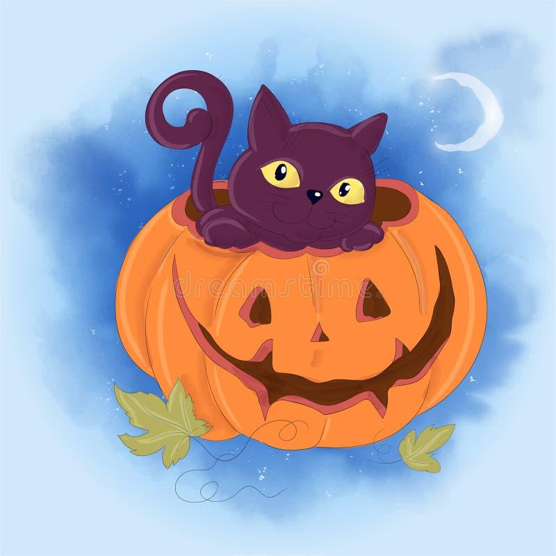 与猫和南瓜的逗人喜爱的动画片例证 明信片海报印刷品为假日万圣节 库存例证