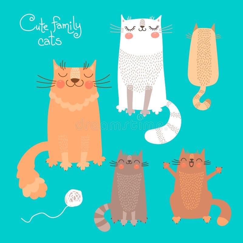 与猫和小猫的逗人喜爱的集合 向量例证