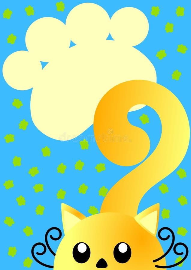 与猫和爪子打印的邀请看板卡 向量例证