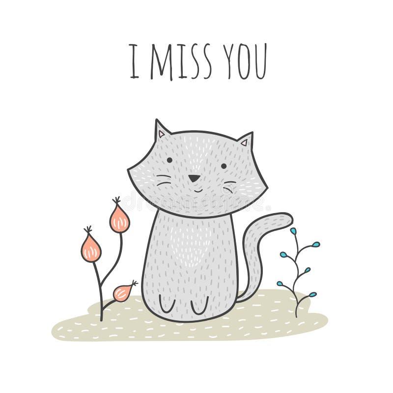 与猫和花的逗人喜爱的手拉的乱画卡片 我想念您 免版税库存照片