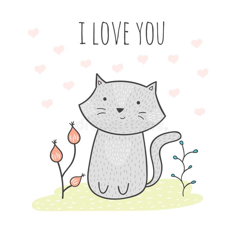 与猫和花的逗人喜爱的手拉的乱画卡片 看板卡我爱你 免版税图库摄影