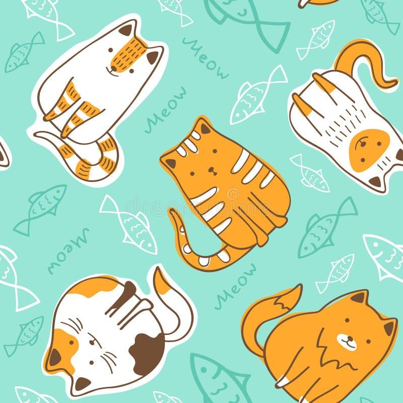 与猫和鱼的无缝的样式 向量例证