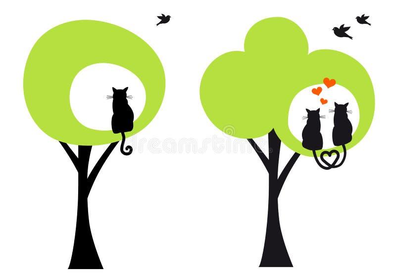 与猫和鸟,传染媒介的树 库存例证