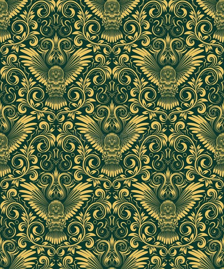 与猫头鹰剪影的锦缎无缝的样式 重复背景的葡萄酒 在巴洛克式的样式的金绿色花饰 皇族释放例证