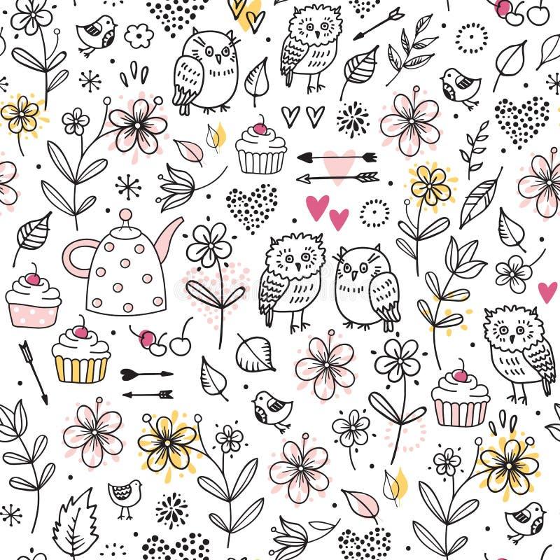 与猫头鹰,花,杯形蛋糕,箭头,樱桃,心脏的无缝的样式 滑稽的传染媒介例证 手拉的元素 向量例证