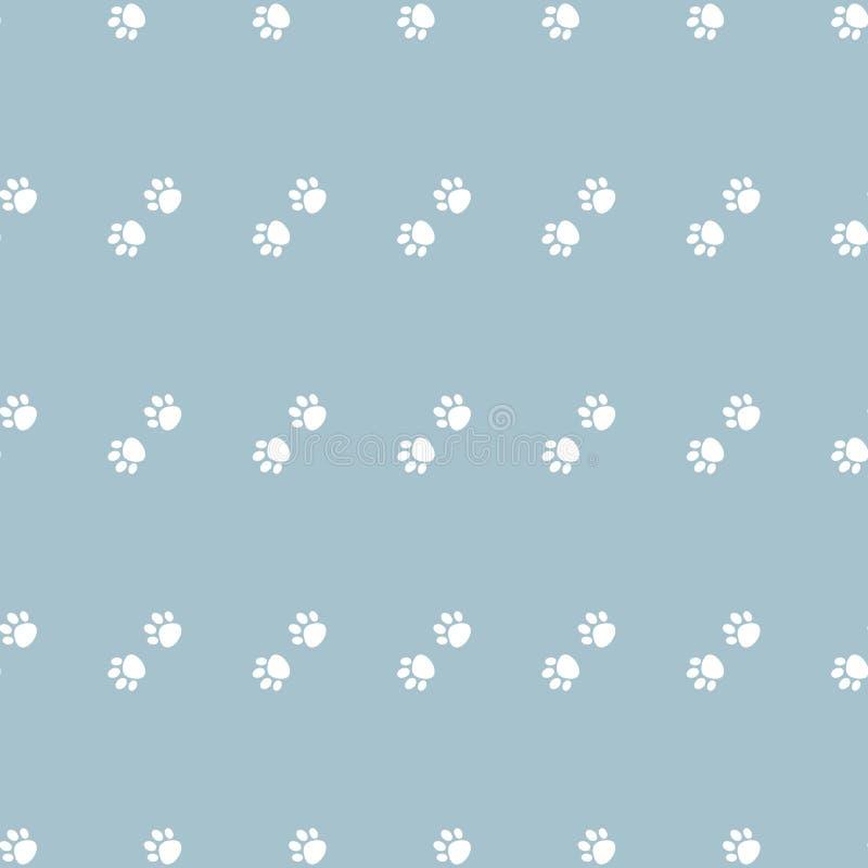 与猫爪子狗爪子的传染媒介无缝的样式 在蓝色背景的白色爪子 库存例证