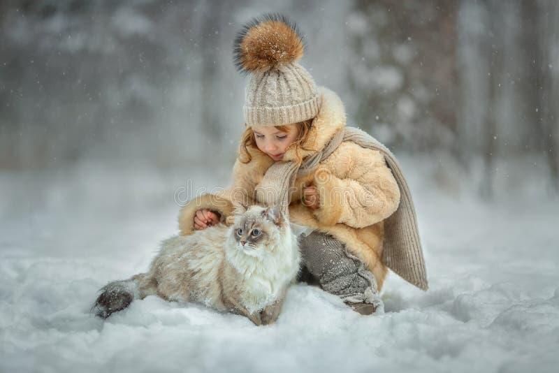 与猫的小女孩画象 免版税库存图片