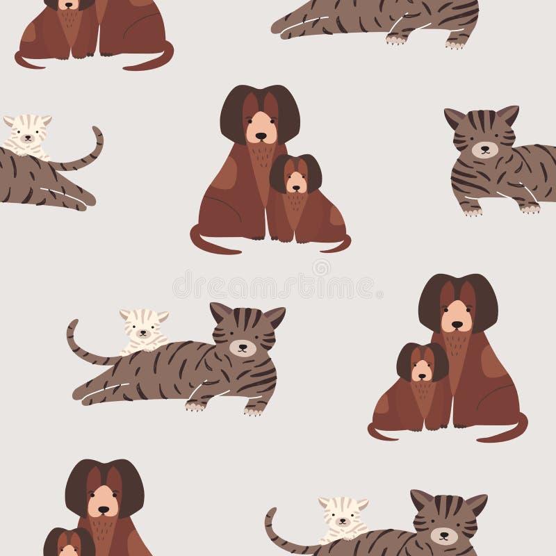 与猫的无缝的样式和小猫、狗和小狗 与母亲和小宠物的背景 逗人喜爱的漫画人物 皇族释放例证