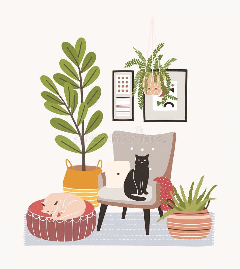 与猫的轻松的客厅内部坐扶手椅子和无背长椅,生长在罐,家庭装饰的室内植物 库存例证