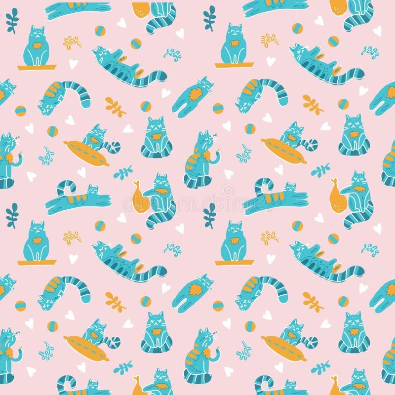 与猫的逗人喜爱的无缝的样式在乱画斯堪的纳维亚样式 与枕头,植物,分支的手拉的传染媒介例证和 向量例证