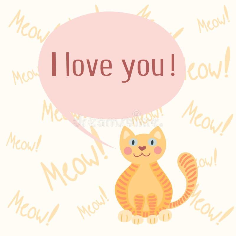 与猫的逗人喜爱的浪漫背景 库存例证