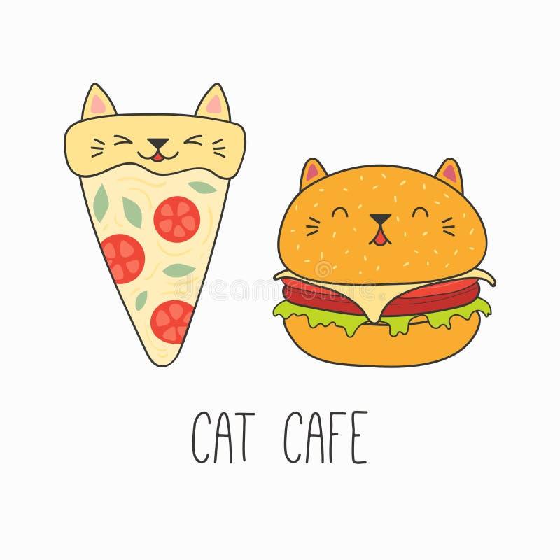 与猫耳朵的逗人喜爱的食物 库存例证