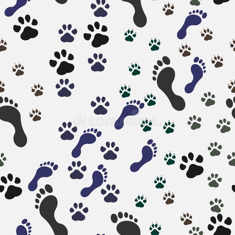 与猫脚印的无缝的背景和狗和人 也corel凹道例证向量 向量例证