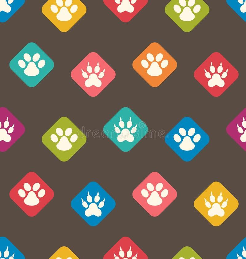 与猫,狗五颜六色的踪影的无缝的纹理  脚印 皇族释放例证