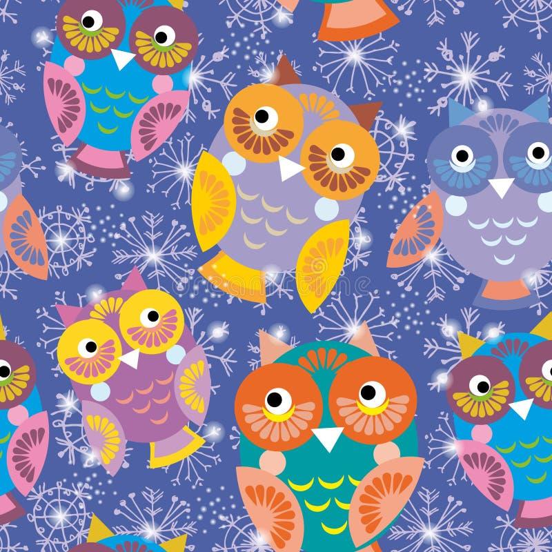 与猫头鹰和雪花的无缝的样式在紫色背景 库存例证