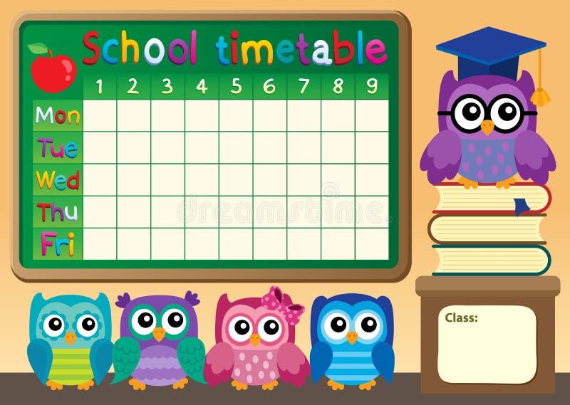 与猫头鹰的学校时间表 库存例证