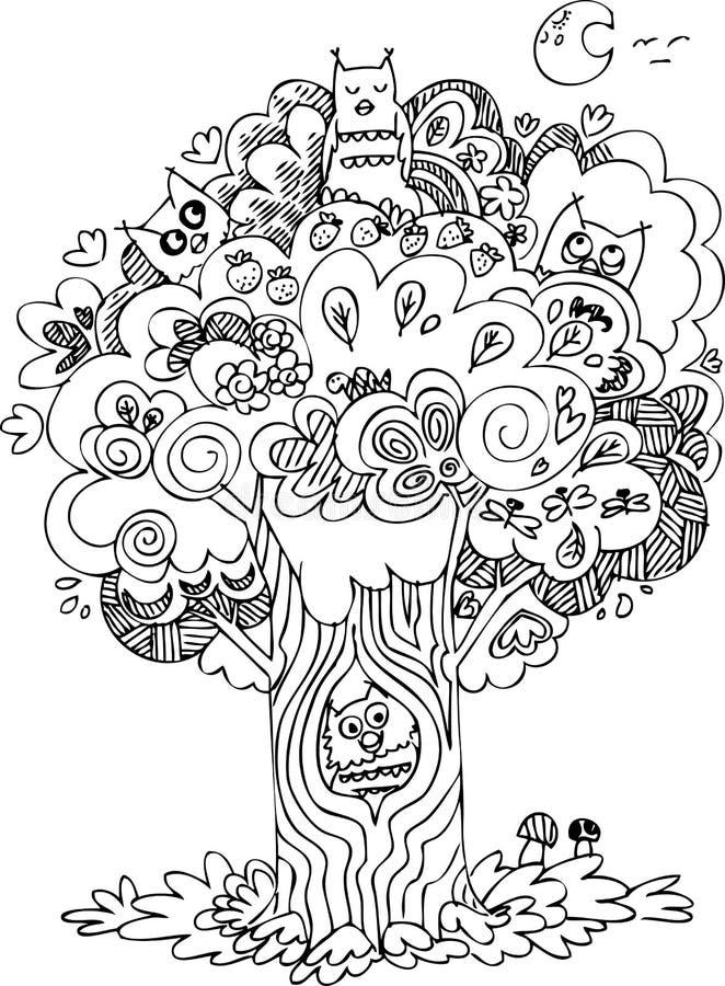 与猫头鹰的黑白树 库存例证