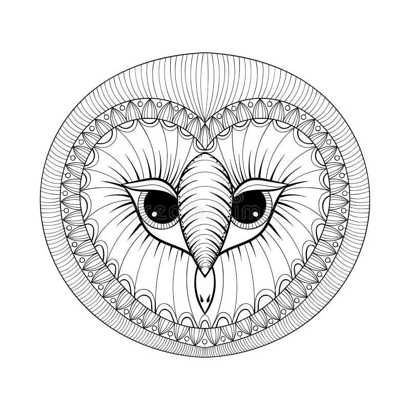 与猫头鹰头, zentangle的着色页传统化了手画的不适 皇族释放例证