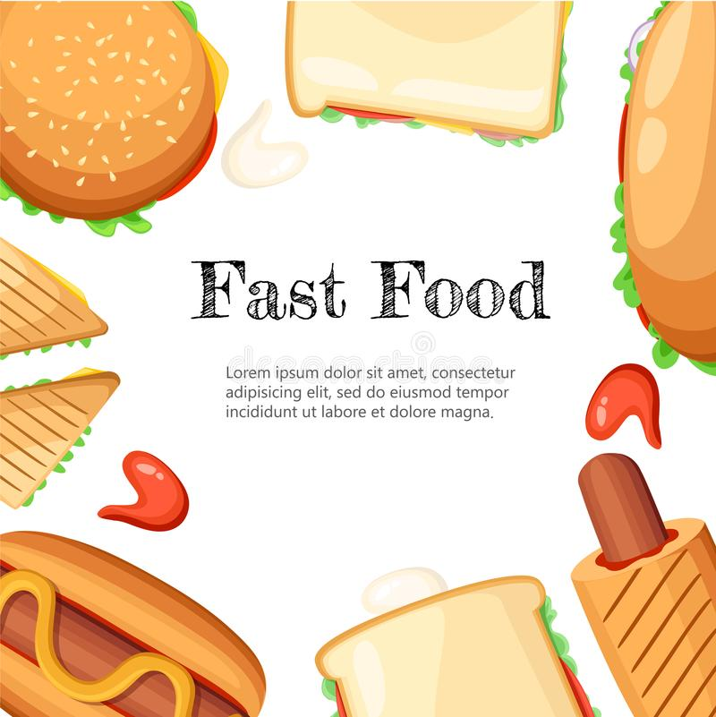 与玉米花芥末saus热狗和冰淇凌例证网的速食餐厅五颜六色的框架黑色背景海报 皇族释放例证