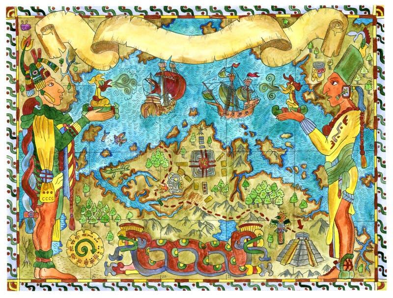 与玛雅人和阿兹台克人珍宝海盗地图的手拉的例证  向量例证
