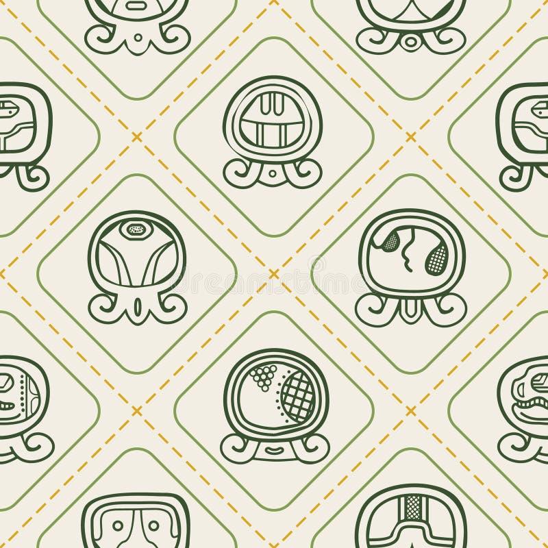 与玛雅人日历命名日和联系的纵的沟纹的无缝的背景 库存例证