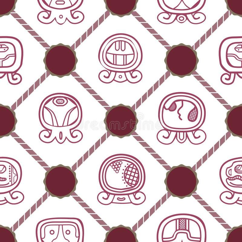 与玛雅人日历命名日和联系的纵的沟纹的无缝的背景 向量例证