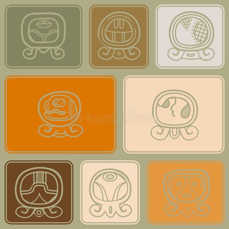 与玛雅人日历命名日和联系的纵的沟纹的无缝的背景 皇族释放例证
