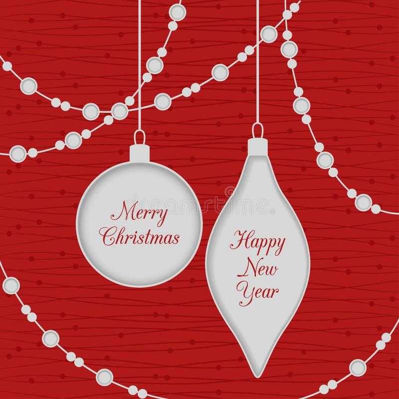 与玩具和诗歌选的圣诞节无缝的卡片,红色 库存例证