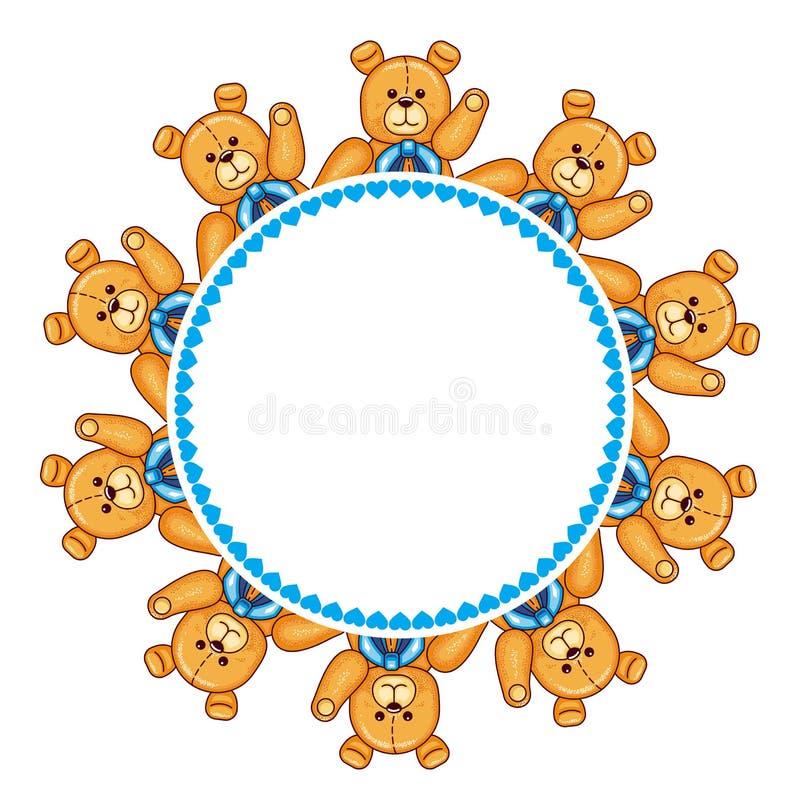 与玩具熊的圆的框架 库存例证