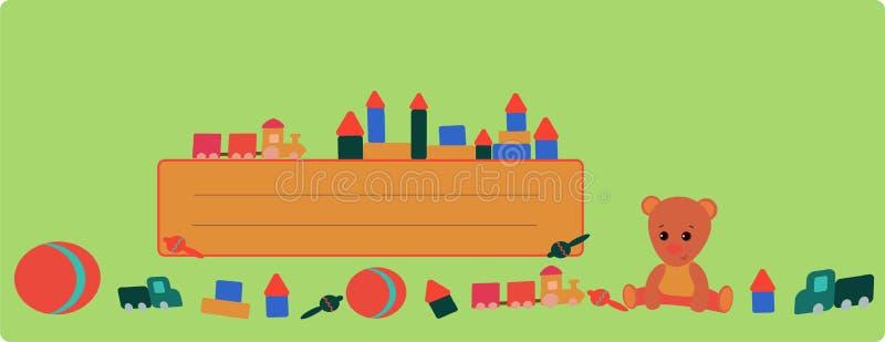 与玩具熊的横幅和在绿色背景的一列火车 库存例证