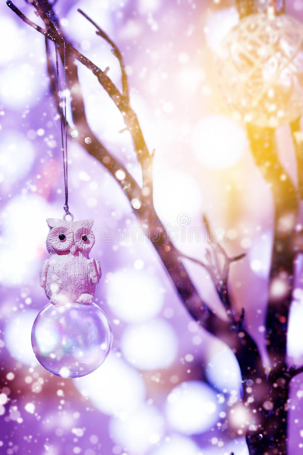 与玩具猫头鹰鸟的圣诞节背景 免版税图库摄影