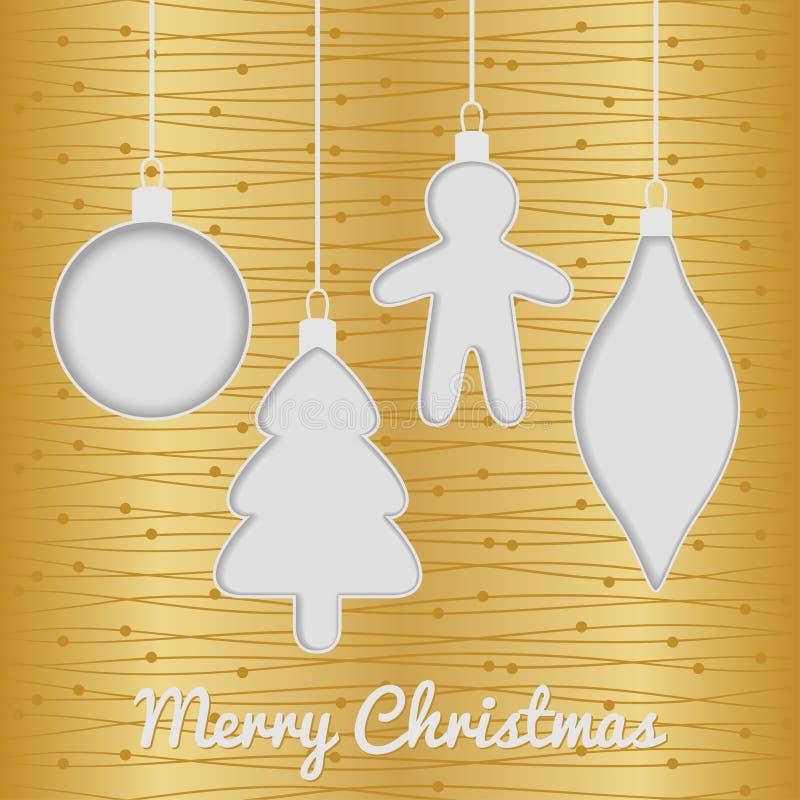 与玩具的圣诞节无缝的卡片,金子 皇族释放例证