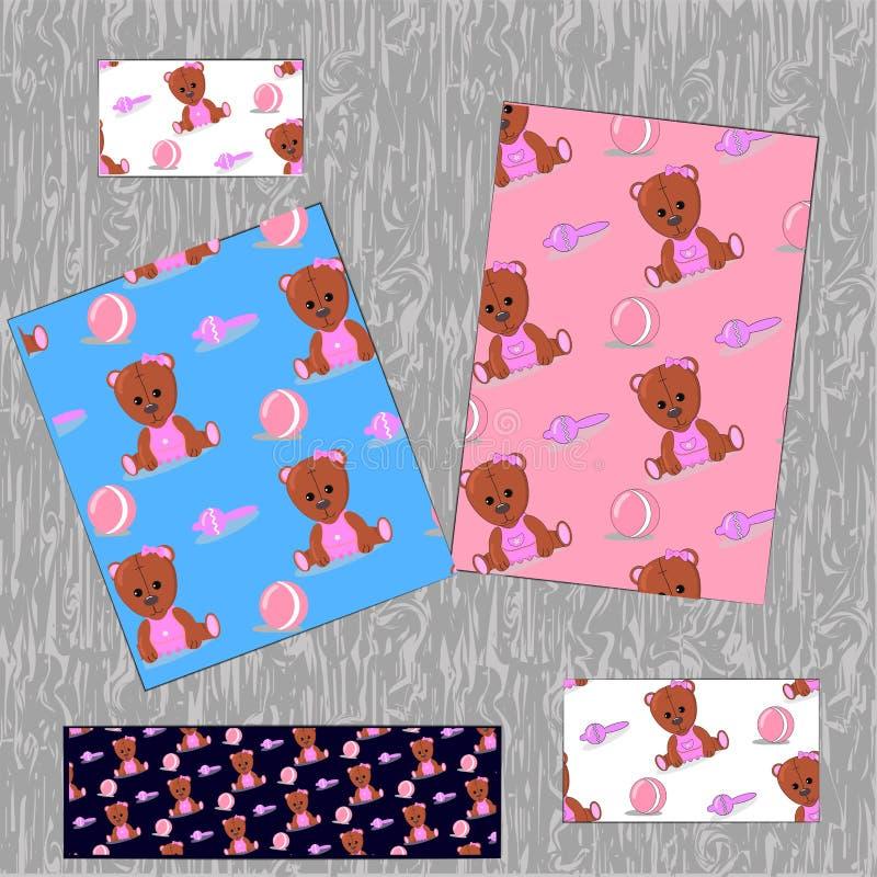 与玩具的背景桃红色婴孩玩具熊 球和吵闹声 对卡片,织品,印刷品 也corel凹道例证向量 皇族释放例证