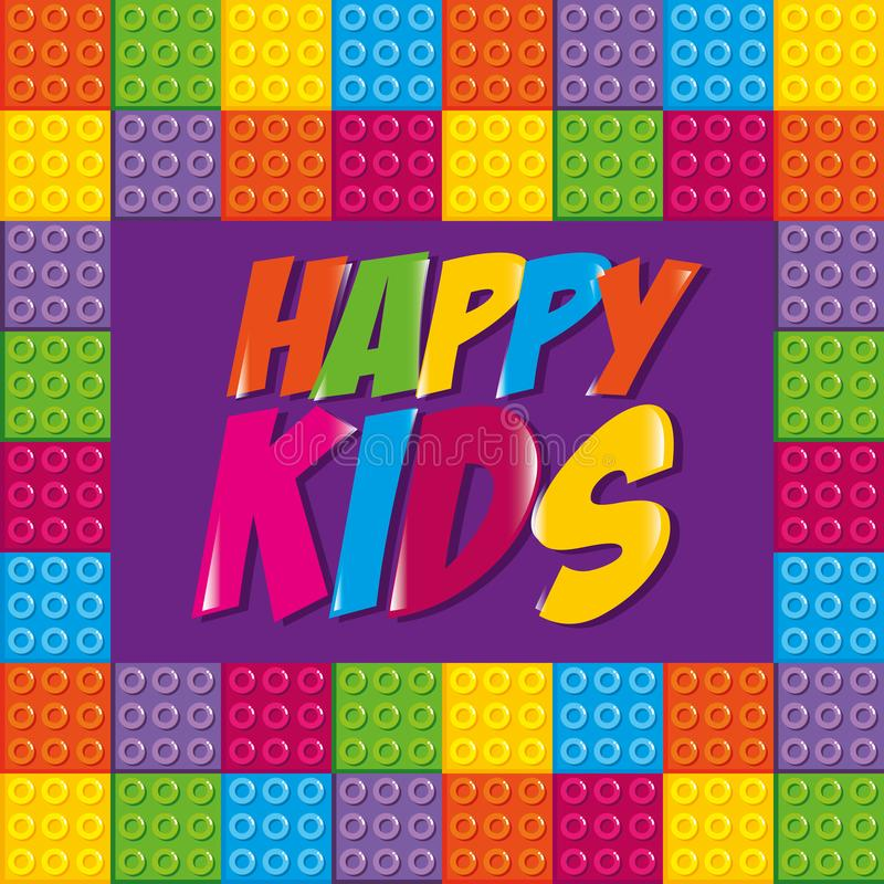 与玩具砖的愉快的孩子标签 向量例证