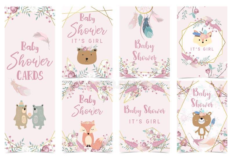 与玫瑰、叶子、dreamcatcher、花圈、羽毛、狐狸和熊的几何桃红色金婴儿送礼会卡片 向量例证