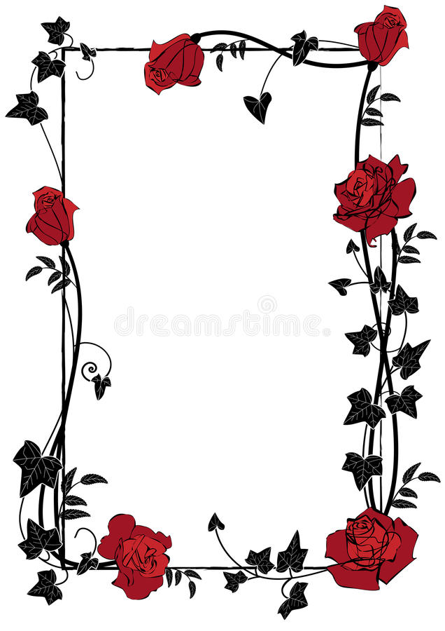 与玫瑰、常春藤和蝴蝶的框架 库存例证