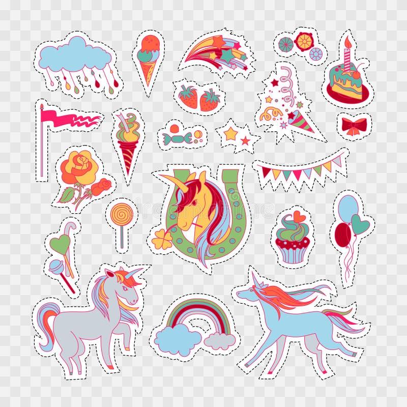 与玫瑰、蛋糕、甜点、冰淇凌、云彩、星、旗子、baloons和独角兽的独角兽多色贴纸 皇族释放例证