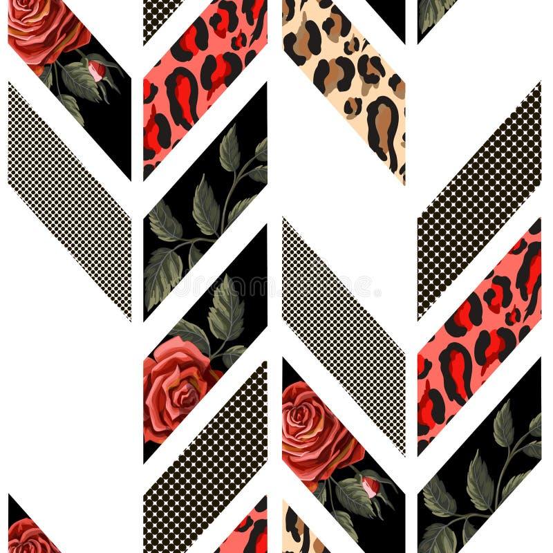 与玫瑰、豹子皮肤、小点和线的无缝的样式 几何时髦设计 向量例证