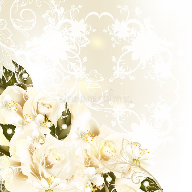 与淡色玫瑰,梨,漩涡orna的美好的设计背景 库存例证