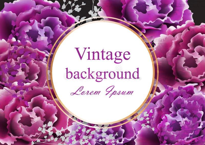 与玫瑰传染媒介的葡萄酒卡片 现实时髦的紫色野生玫瑰 名片影响梯度没有模板 向量例证