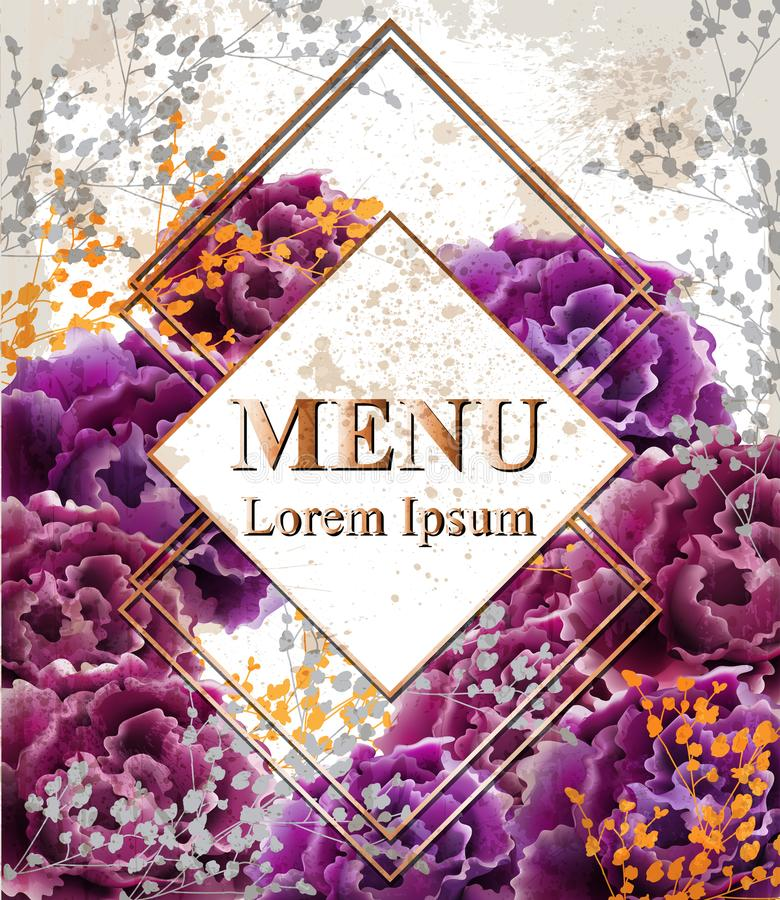 与玫瑰传染媒介的葡萄酒卡片 现实时髦的紫色野生玫瑰 名片影响梯度没有模板 皇族释放例证