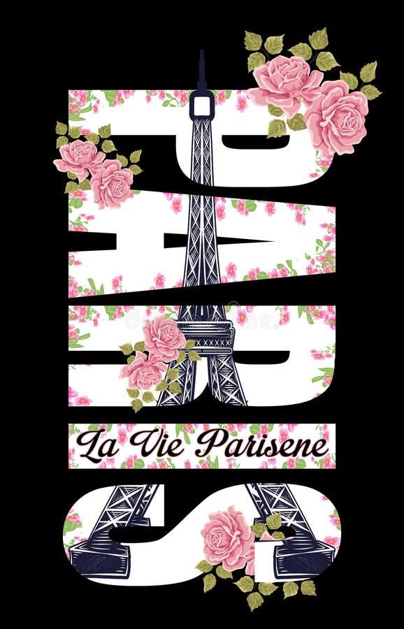 巴黎与玫瑰例证艺术的文本和埃佛尔铁塔在黑背景 免版税库存图片