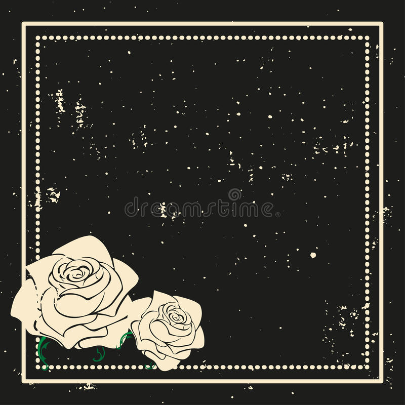 与玫瑰剪影的花卉框架 减速火箭的样式 也corel凹道例证向量 设计广告的元素,飞行物,婚礼, invitatio 库存例证