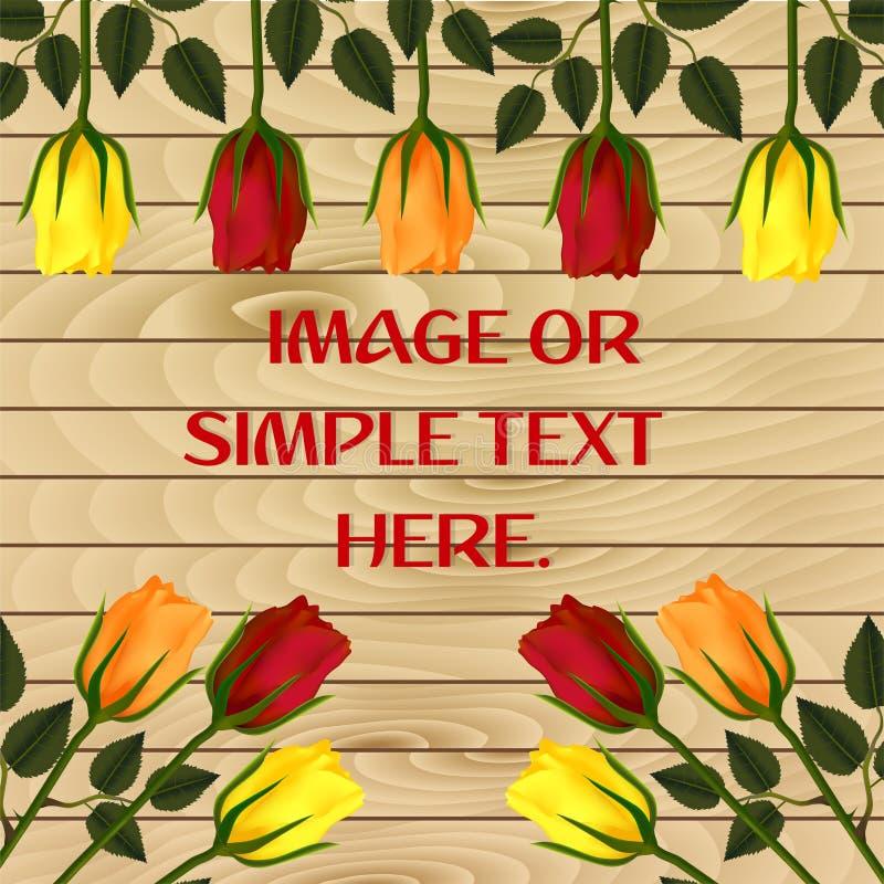 与玫瑰和一个框架的在美丽的木板条背景的贺卡的摄影或文本  皇族释放例证
