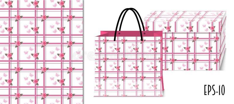 与玫瑰和包装大模型的无缝的几何样式 皇族释放例证