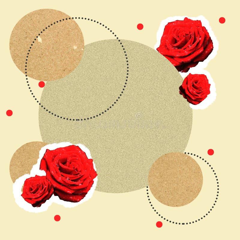 与玫瑰和圆的框架的拼贴画背景 zine、照片和其他设计的背景 免版税库存照片