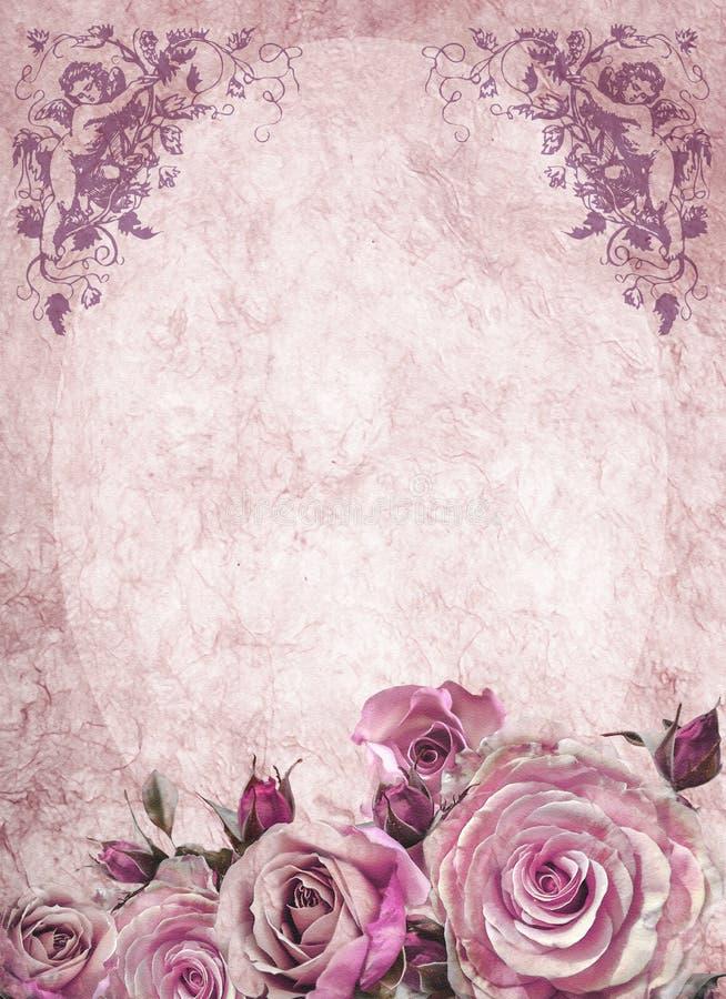 与玫瑰和天使2的葡萄酒卡片 向量例证