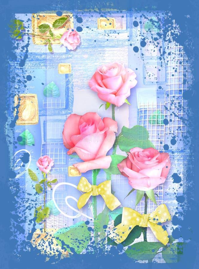 与玫瑰和弓的美丽的卡片在抽象蓝色背景 库存例证